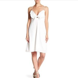 Front Tie Knot White Dress